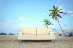 3d rendering of a sofa in front of a photo wall mural with a palm beach